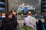 Manchester City 4, Tottenham Hotspur 3, 17/04/2019. Etihad Stadium, Champions League. Home supporters waiting for their team to arrive outside the Etihad Stadium before Manchester City played Tottenham Hotspur in a Champions League quarter final, second league. The first leg was played the previous week at Spurs' new stadium which they won 1-0. The second lead resulted in a 4-3 win for City however Tottenham progressed to the semi-finals against Ajax on the away goal rule as the teams finished 4-4 on aggregate. Photo by Colin McPherson.