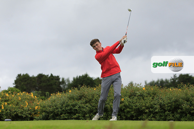 Ross McCabe (Roganstown) on the 18th tee during R1 of the 2016 Connacht U18 Boys Open, played at Galway Golf Club, Galway, Galway, Ireland. 05/07/2016. <br /> Picture: Thos Caffrey | Golffile<br /> <br /> All photos usage must carry mandatory copyright credit   (&copy; Golffile | Thos Caffrey)