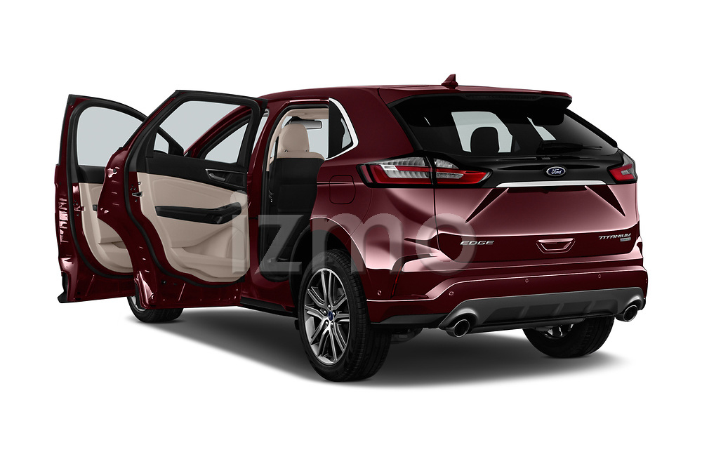 Car images close up view of a 2019 Ford Edge Titanium 5 Door SUV doors