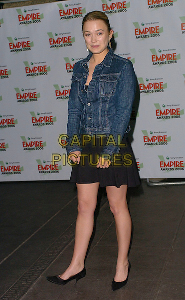 SOPHIA MYLES .Sony Ericsson Empire Film Awards 2006 at Hilton London Metropole, London, UK..March 13th, 2006.Ref: CAN.full length black skirt jean denim jacket.www.capitalpictures.com.sales@capitalpictures.com.©Capital Pictures