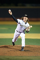Wake Forest Demon Deacons starting pitcher Parker Dunshee (36) delivers a pitch to the plate against the Georgetown Hoyas at David F. Couch Ballpark on February 19, 2016 in Winston-Salem, North Carolina.  The Demon Deacons defeated the Hoyas 3-1.  (Brian Westerholt/Four Seam Images)