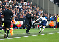 23rd November 2019; London Stadium, London, England; English Premier League Football, West Ham United versus Tottenham Hotspur; Tottenham Hotspur Manager Jose Mourinho gesturing to the linesmen to catch up - Strictly Editorial Use Only. No use with unauthorized audio, video, data, fixture lists, club/league logos or 'live' services. Online in-match use limited to 120 images, no video emulation. No use in betting, games or single club/league/player publications