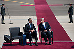 US President Barack Obama, left, and Israel's Prime Minister Benjamin Netanyahu, right, during the welcoming ceremony for Obama at Ben Gurion airport, central Israel.<br /> <br /> Photo by Ahikam Seri