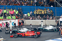 27th October 2019, Autodromo HermanRodriguez, Mexico City, Mexico; F1 Grand Prix of Mexico, Race Day;  5 Sebastian Vettel GER, Scuderia Ferrari Mission Winnow, Winner 44 Lewis Hamilton GBR, Mercedes AMG Petronas Motorsport, 77 Valtteri Bottas FIN, Mercedes AMG Petronas Motorsport in parc ferme after the race