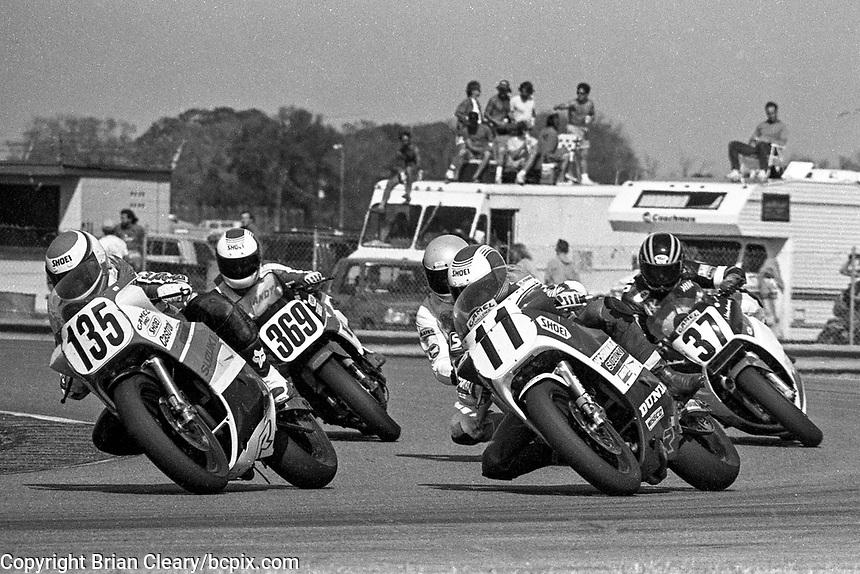 Randy Texter (#135 Suzuki), Andrew Lindeman (#369 Honda), Gary Goodfellow (#11 Suzuki), John Ashamed (#37 Honda), Daytona 200, Daytona International Speedway, March 8, 1987.  (Photo by Brian Cleary/bcpix.com)