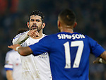 Diego Costa of Chelsea accuses Danny Simpson of Leicester City - English Premier League - Leicester City vs Chelsea - King Power Stadium - Leicester - England - 14th December 2015 - Picture Simon Bellis/Sportimage
