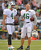 Tanner Purdum #46 of the New York Jets, right, flashes a thumbs up sign as he stands alongside Lachlan Edwards #4 during the team's annual Green & White practice and scrimmage at MetLife Stadium in East Rutherford, NJ on Saturday, Aug. 5, 2017.