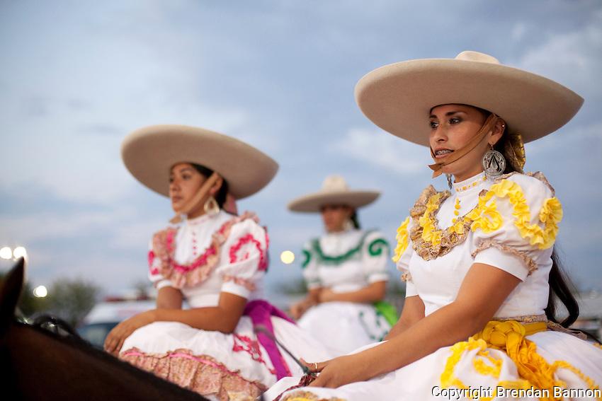 Escaramuza Las Gazelas, a group of women side-saddle horse riders at the Kern County Fair.