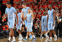 The North Carolina Tar Heels starters during the game against Virginia in Charlottesville, Va. North Carolina defeated Virginia 54-51.
