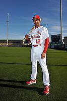 Mar 01, 2010; Jupiter, FL, USA; St. Louis Cardinals infielder Julio Lugo (12) during  photoday at Roger Dean Stadium. Mandatory Credit: Tomasso De Rosa/ Four Seam Images