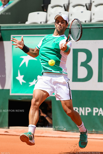 Fernando Verdasco (ESP), JUNE 5, 2017 - Tennis : Fernando Verdasco of Spain during the Men's singles fourth round match of the French Open tennis tournament against Kei Nishikori of Japan at the Roland Garros in Paris, France. (Photo by AFLO)