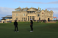 Ed Brown (AM) and Graeme McDowell (NIR) on the 18th fairway during Round 3 of the Alfred Dunhill Links Championship 2019 at St. Andrews Golf CLub, Fife, Scotland. 28/09/2019.<br /> Picture Thos Caffrey / Golffile.ie<br /> <br /> All photo usage must carry mandatory copyright credit (© Golffile | Thos Caffrey)