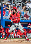 6 March 2019: Philadelphia Phillies infielder Maikel Franco at bat during a Spring Training game against the Toronto Blue Jays at Dunedin Stadium in Dunedin, Florida. The Blue Jays defeated the Phillies 9-7 in Grapefruit League play. Mandatory Credit: Ed Wolfstein Photo *** RAW (NEF) Image File Available ***