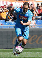 Calcio, Serie A: Roma vs Napoli. Roma, stadio Olimpico, 25 aprile 2016.<br /> Napoli&rsquo;s Gonzalo Higuain in action during the Italian Serie A football match between Roma and Napoli at Rome's Olympic stadium, 25 April 2016.<br /> UPDATE IMAGES PRESS/Riccardo De Luca