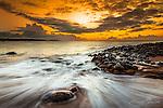 Beautiful Sunset over Enchanting Hawaiian Island Moloka'i, Papohaku Beach.