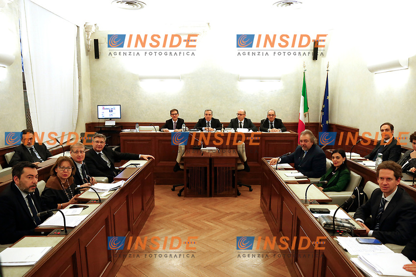 Senate immunity panel<br /> Rome February 19th 2019. Senate immunity commission at Sant'Ivo alla Sapienza palace.  The commission voted to retain immunity from prosecution for the Minister of Internal Affairs Matteo Salvini. Last August 20th a ship, carrying 177 migrants (among them many minors) docked in the harbour of Catania but Minister Salvini took the decision to block migrants of Diciotti ship at sea. For that reason the magistracy accused the minister of kidnapping.<br /> Foto Samantha Zucchi Insidefoto