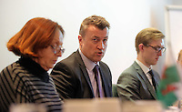 Pictured: Paul Davies of Gwent Police (C), speaking about child sexual exloitation. Thursday 02 March 2017<br /> Re: Multi-agency Wales and Albania Anti-Slavery Meeting discussing issues of people trafficking by organised gangs, Cardiff, UK