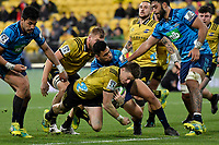 Hurricanes&rsquo; Beauden Barrett in action during the Super Rugby - Hurricanes v Blues at Westpac Stadium, Wellington, New Zealand on Saturday 7 July 2018.<br /> Photo by Masanori Udagawa. <br /> www.photowellington.photoshelter.com