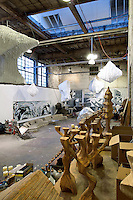 Large open space with artwork installations