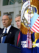 "United States President George W. Bush announces his intention to withdraw the US from the 1972 ABM Treaty with the Russian Federation in the Rose Garden of the White House in Washington, DC on December 13, 2001.  He called it a ""Cold War relic"".  Standing at left is US secretary of State Colin L. Powell.<br /> Credit: Ron Sachs / CNP"