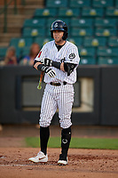 Jackson Generals Mark Karaviotis (50) at bat during a Southern League game against the Mississippi Braves on July 23, 2019 at The Ballpark at Jackson in Jackson, Tennessee.  Mississippi defeated Jackson 1-0 in the second game of a doubleheader.  (Mike Janes/Four Seam Images)