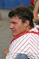 July 17, 2005:  Catcher Lou Marson of the Batavia Muckdogs during a game at Dwyer Stadium in Batavia, NY.  The Muckdogs are the Short Season Class-A affiliate of the Philadelphia Phillies.  Photo By Mike Janes/Four Seam Images