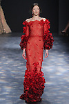 Model Yumi walks runway in a red ombré Chantilly lace off-the-shoulder fishtail gown with bell sleeves and laser-cut organza flowers, from the Marchesa Fall 2016 collection by Georgina Chapman and Keren Craig, presented at NYFW: The Shows Fall 2016, during New York Fashion Week Fall 2016.
