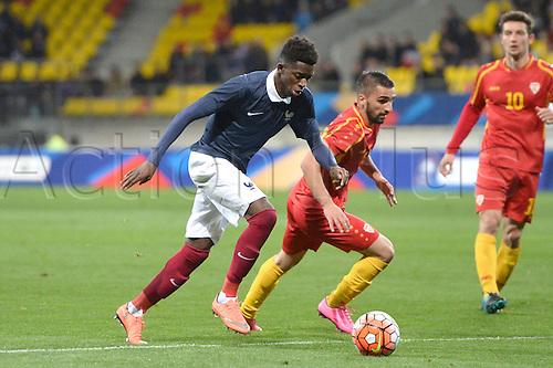 28.03.2016. Stade LeMans,  Le Mans, France, U-21 2017 Euros qualification. France versus Macedonia.  OUSMANE DEMBELE drives forward on the ball