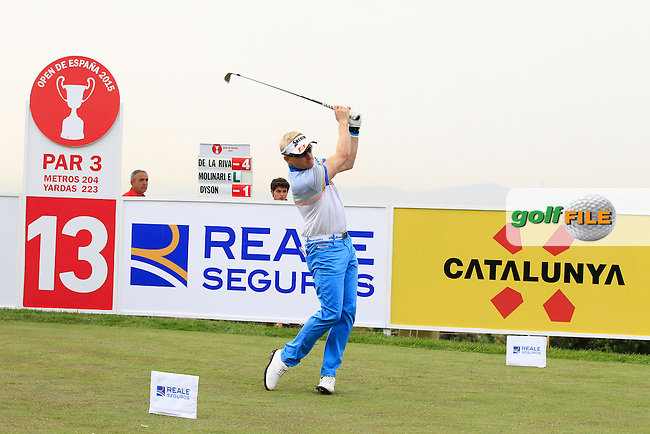 Simon Dyson (ENG) on the 13th tee during Round 1 of the Open de Espana  in Club de Golf el Prat, Barcelona on Thursday 14th May 2015.<br /> Picture:  Thos Caffrey / www.golffile.ie