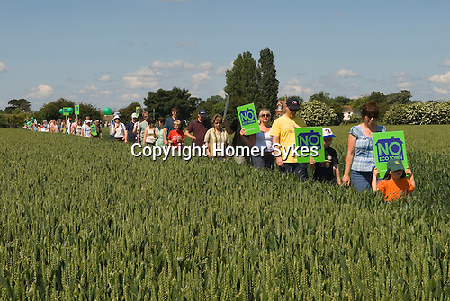 Local community demonstration against Eco town, new town development on a greenfield site at Ford and Yapton West Sussex. UK 2008.