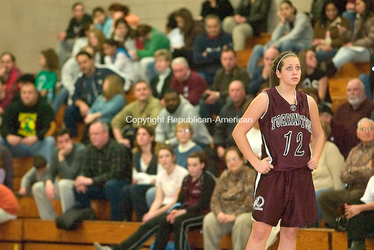 WATERBURY, CT-- 08 JANUARY 2008--010808JS08-Torrington's Kat Zagrodnik (12) looks up at the scoreboard following their 53-48 loss to Holy Cross Tuesday at Holy Cross High School in Waterbury. <br /> Jim Shannon/Republican-American