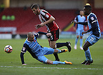 Alan Dunne of Leyton Orient bringing Jack O'Connell of Sheffield United  down during the Emirates FA Cup Round One match at Bramall Lane Stadium, Sheffield. Picture date: November 6th, 2016. Pic Simon Bellis/Sportimage