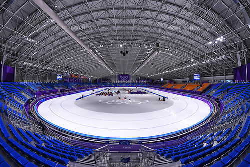 General view, <br /> FEBRUARY 10, 2018 - Speed Skating : <br /> Gangneung Oval during the PyeongChang 2018 Olympic Winter Games in Gangneung, South Korea. <br /> (Photo by MATSUO.K/AFLO SPORT)