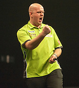 09.04.2015. Sheffield, England. Betway Premier League Darts. Matchday 10.  Michael van Gerwen [NED] celebrates a big score against Stephen Bunting [ENG]