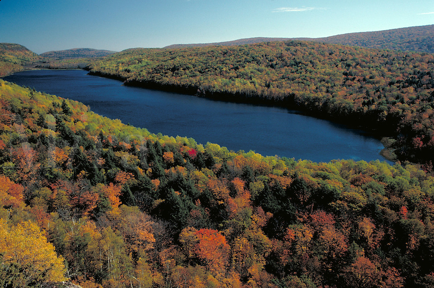 Autumn view of the lake in the Porcupine Mountains Wilderness State Park, fall foliage, aerial, lakes. Porcupine Mountains WSP Michigan USA.