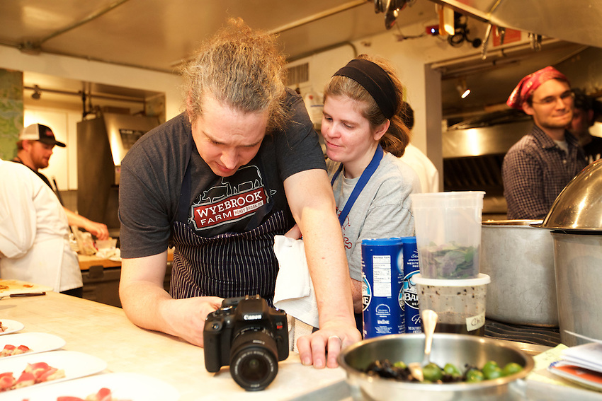 NEW YORK, NY - March 2, 2016: Chef Andrew &amp; Kristin Wood and the team from Russet in Philadelphia present a 'Sardinian Lamb Feast' at the James Beard House. <br /> <br /> CREDIT: Clay Williams for the James Beard Foundation.<br /> <br /> &copy; Clay Williams / claywilliamsphoto.com