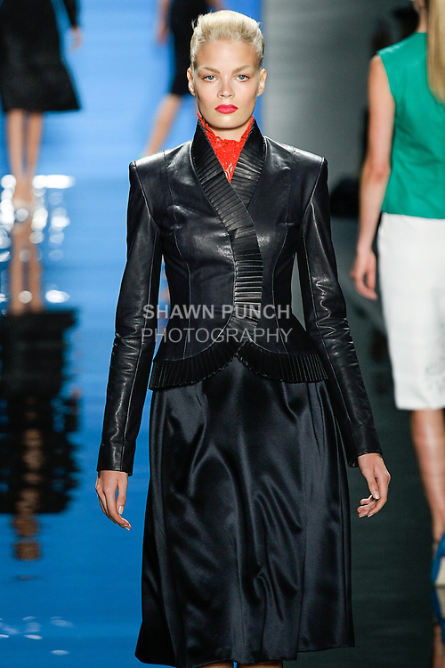 Franziska walks runway in an outfit from the Reem Acra Spring 2013 ready-to-wear collection, during Merecedes-Benz Fashion Week Spring 2013 in New York City.