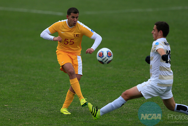KANSAS CITY, MO - DECEMBER 03:  Danilo Dias (55) of the University of Charleston kicks the ball against Wingate University during the Division II Men's Soccer Championship held at Children's Mercy Victory Field at Swope Soccer Village on December 03, 2016 in Kansas City, Missouri. Wingate beat Charleston 2-0 to win the National Championship. (Photo by Jack Dempsey/NCAA Photos via Getty Images)