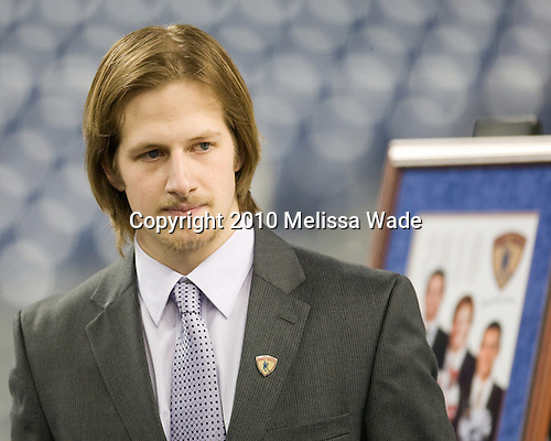 Blake Geoffrion (Wisconsin - 5) - The Hobey Baker was awarded to Blake Geoffrion of the Wisconsin Badgers in a ceremony at Ford Field on Friday, April 9, 2010, in Detroit, Michigan.  Maine Black Bear Gustav Nyquist and UNH Wildcat Bobby Butler were also members of the Hobey Hat Trick (three finalists).