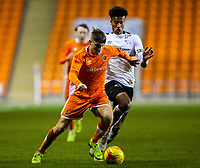Blackpool's Sean Graham shields the ball from Derby County's Archie Brown<br /> <br /> Photographer Alex Dodd/CameraSport<br /> <br /> The FA Youth Cup Third Round - Blackpool U18 v Derby County U18 - Tuesday 4th December 2018 - Bloomfield Road - Blackpool<br />  <br /> World Copyright &copy; 2018 CameraSport. All rights reserved. 43 Linden Ave. Countesthorpe. Leicester. England. LE8 5PG - Tel: +44 (0) 116 277 4147 - admin@camerasport.com - www.camerasport.com