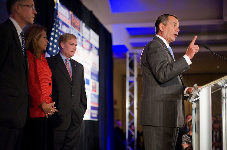 UNITED STATES - NOVEMBER 02:  House Minority Leader John Boehner, R-Ohio, addresses the crowd at the NRCC Election Night Watch party at the Grand Hyatt Hotel on election night when Republicans took back control of the House of Representatives.  Also pictured are, from left, Rep. Greg Walden, R-Ore., Boehner's wife Debbie, and Rep. Pete Sessions, R-Texas.  (Photo By Tom Williams/Roll Call via Getty Images)