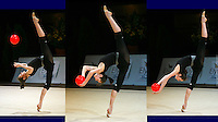 Anna Bessonova of Ukraine trains balance with frunk in horizontal with ball before 2006 Thiais Grand Prix in Paris, France on March 25, 2006.  (Photo by Tom Theobald)<br />