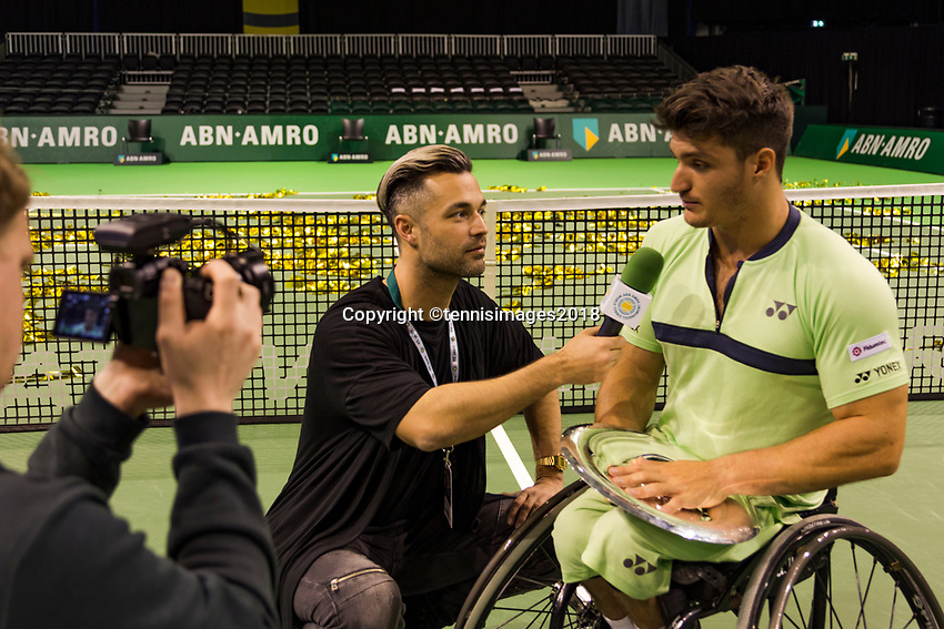 Rotterdam, The Netherlands, 17 Februari, 2018, ABNAMRO World Tennis Tournament, Ahoy, Tennis, Wheelchair final single, Alfie Hewett (GBR), Gustavo Fernandez (ARG)<br /> <br /> Photo: www.tennisimages.com