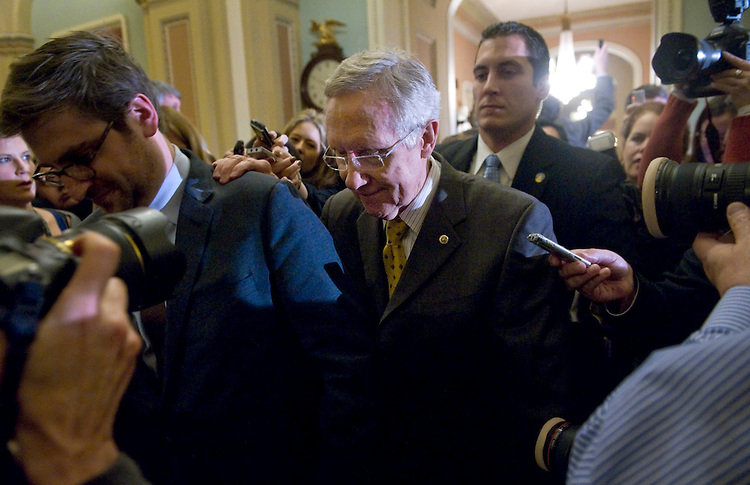 "UNITED STATES - DECEMBER 30: Senate Majority Leader Harry Reid, D-Nv., leaves a Senate caucus meeting at the Capitol. Congressional leaders are here this evening still trying to hammer out a deal for the ""Fiscal Cliff."" (Photo By Chris Maddaloni/CQ Roll Call)"