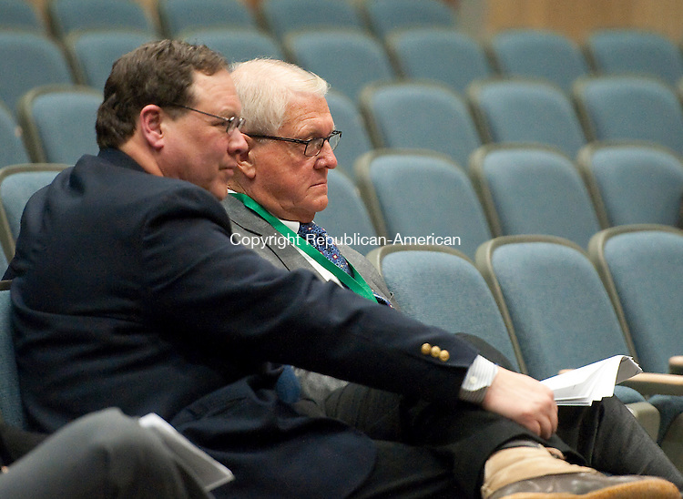OXFORD,  CT-011415JS13- Stephen L. Savarese, representing the Town of Middlebury and First Selectman Edward B. St. John, listen to representatives for CPV Towantic Energy Center, answer questions to members of the Siting Council during evidentiary proceedings Thursday at Oxford High School.<br />  Jim Shannon Republican-American