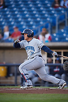 Lake County Captains designated hitter Li-Jen Chu (13) follows through on a swing during a game against the Quad Cities River Bandits on May 6, 2017 at Modern Woodmen Park in Davenport, Iowa.  Lake County defeated Quad Cities 13-3.  (Mike Janes/Four Seam Images)