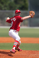 St. Louis Cardinals minor league pitcher Dean Kiekhefer #18 delivers a pitch during a spring training game vs the Florida Marlins at the Roger Dean Sports Complex in Jupiter, Florida;  March 25, 2011.  Photo By Mike Janes/Four Seam Images