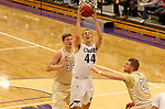 SIOUX FALLS, SD - NOVEMBER 25: Austin Slater #44 from the University of Sioux Falls lays the ball up between Carter Kirk #35 and Turner Moen #21 from Southwest Minnesota State University during their game Saturday night at the Stewart Center in Sioux Falls. (Photo by Dave Eggen/Inertia)