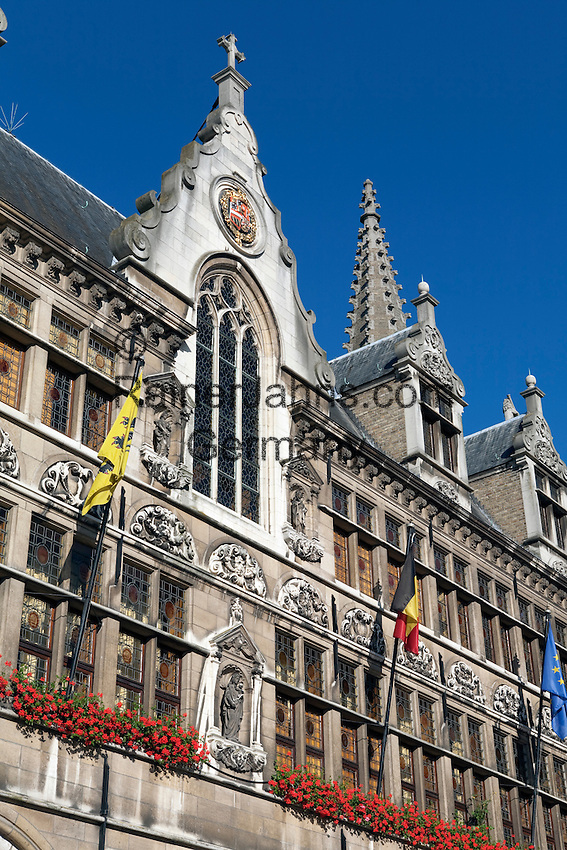 Belgium, West Vlaanderen, Ypres: Detail of the Cloth Hall in the Grote Markt