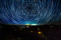 Star Trails over the Arkansas Grand Canyon in the Buffalo National River Canyon near Jasper Arkansas.